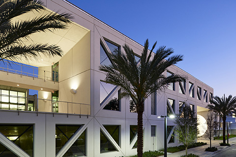 Exterior of a building at the Frost School of Music located at the University of Miami Coral Gables campus
