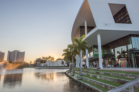 Exterior of the Student Center at the University of Miami Coral Gables Campus
